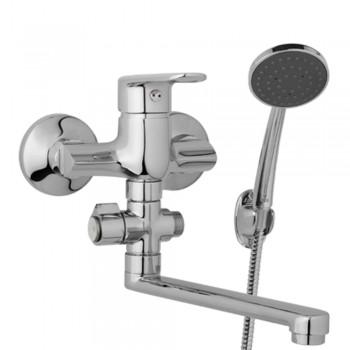 Nástěnná umyvadlová a sprchová baterie FINERY 100 mm, otočný přepínač, s příslušenstvím, ramínko 300 mm