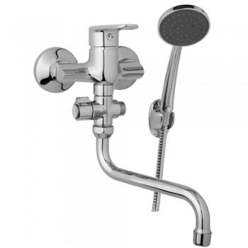Nástěnná umyvadlová a sprchová baterie FINERY 100 mm, otočný přepínač,s příslušenstvím, trubkové ramínko 200 mm