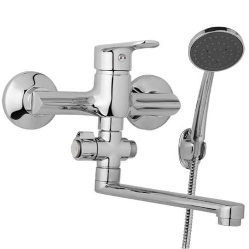 Nástěnná umyvadlová a sprchová baterie FINERY 150 mm, otočný přepínač, s příslušenstvím, ramínko 200 mm