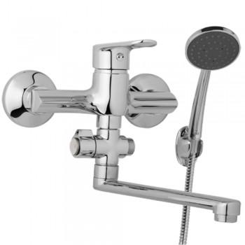 Nástěnná umyvadlová a sprchová baterie FINERY 150 mm, otočný přepínač, s příslušenstvím, ramínko 300 mm