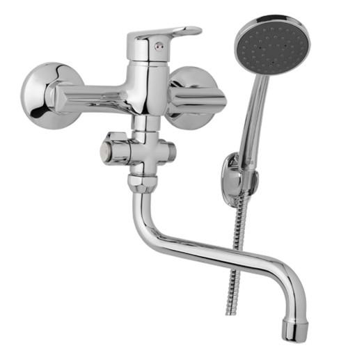 Nástěnná umyvadlová a sprchová baterie FINERY 150 mm, otočný přepínač, s příslušenstvím, trubkové ramínko 200 mm