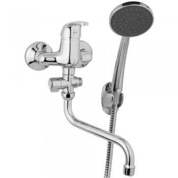 Nástěnná umyvadlová a sprchová baterie SLIM 100 mm, otočný přepínač, s příslušenstvím s trubkovým ramínkem 300 mm