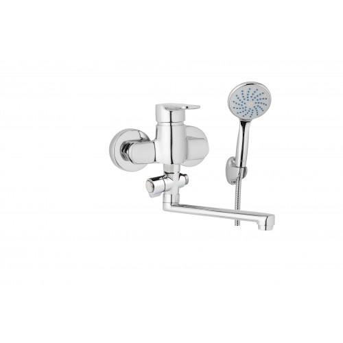 Nástěnná umyvadlová a sprchová baterie MIRAM 100 mm, otočný přepínač, s příslušenstvím, ramínko 300 mm