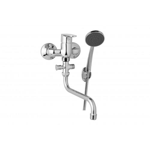 Nástěnná umyvadlová a sprchová baterie TIRA 100 mm s příslušenstvím, trubkové ramínko 200 mm