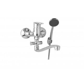 Nástěnná umyvadlová a sprchová baterie TIRA 100 mm s příslušenstvím, ramínko 300 mm