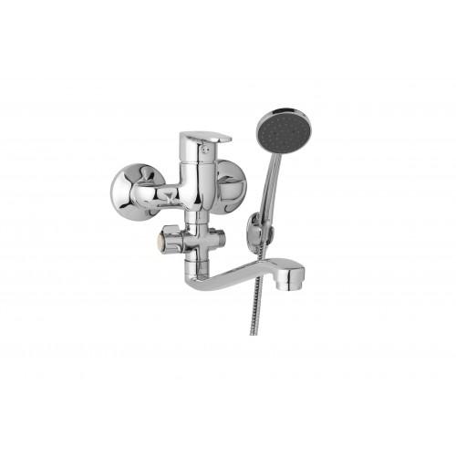 Nástěnná umyvadlová a sprchová baterie TIRA 100 mm, otočný přepínač, s příslušenstvím, S ramínko 250 mm
