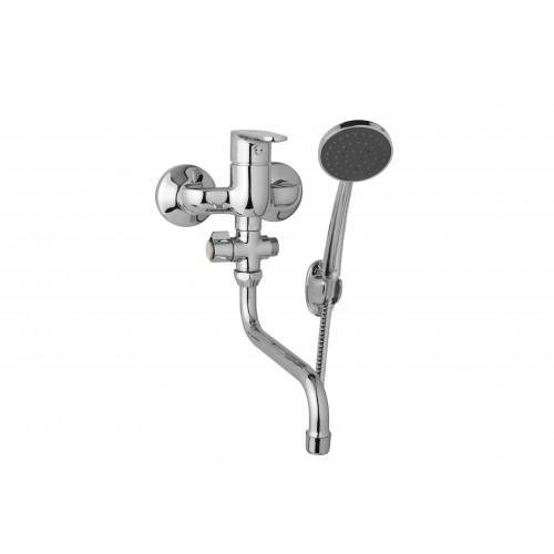 Nástěnná umyvadlová a sprchová baterie TIRA 100 mm, otočný přepínač,s příslušenstvím, trubkové ramínko 200 mm