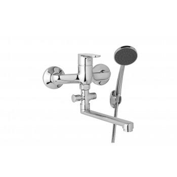 Nástěnná umyvadlová a sprchová baterie TIRA 150 mm s příslušenstvím, ramínko 200 mm
