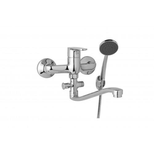 Nástěnná umyvadlová a sprchová baterie TIRA 150 mm s příslušenstvím, ramínko 300 mm