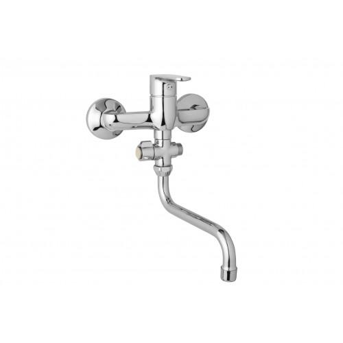 Nástěnná umyvadlová a sprchová baterie TIRA 150 mm, otočný přepínač, bez příslušenství, trubkové ramínko 200 mm