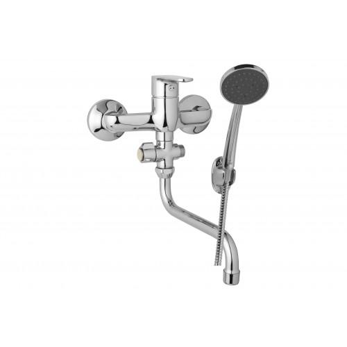 Nástěnná umyvadlová a sprchová baterie TIRA 150 mm, otočný přepínač, s příslušenstvím, trubkové ramínko 200 mm