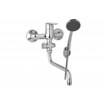 Nástěnná umyvadlová a sprchová baterie TIRA 150 mm, otočný přepínač, s příslušenstvím s trubkovým ramínkem 300 mm